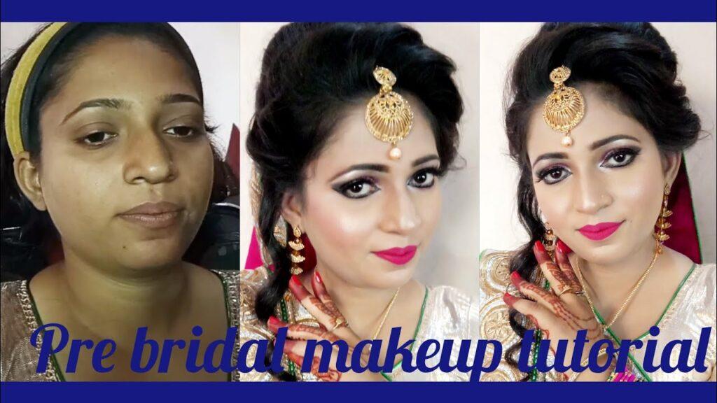 Dark skin pre bridal makeup tutorial step by step