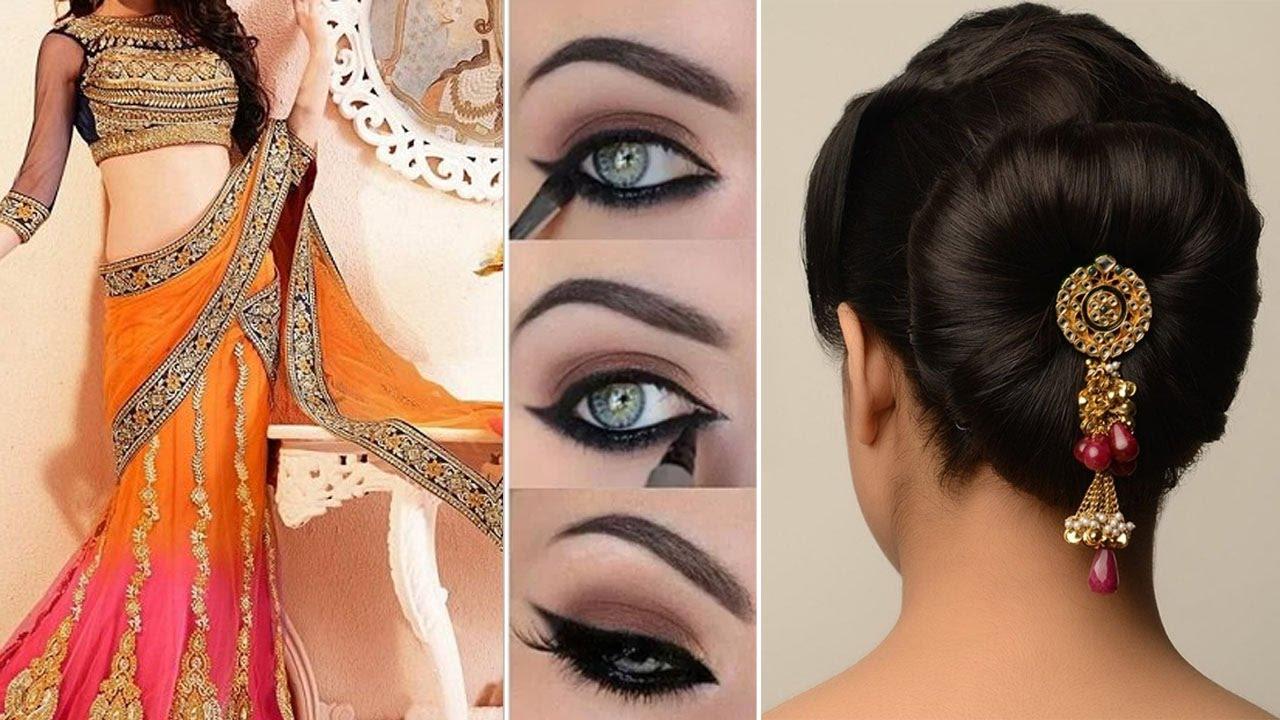 Lehenga Style Saree Draping with Makeup and Hairstyle Step By Step | DIY | Lehenga Bridal Makeup ...